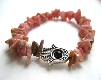 Pink Hamsa Bracelet - Pink Stone Bracelet - Pink Rhodochrosite - Pink Bracelet - Stretch Bracelet - Silver Bracelet - Gemstone Jewelry