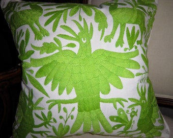 LIME GREEN  Hand Embroidered Otomi Pillow Cover 20 x 20 Stunning Color!