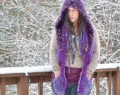 Purple Goddess Spirit Hood-Scarf Upcycled Crochet