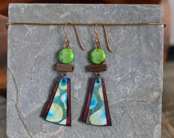 Hand painted sustainable birch wood earrings.