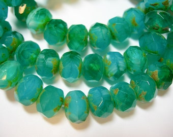 25 8x6mm Emerald Isles Green Opal Transparent Blend Czech Fire polished Picasso Rondelle beads