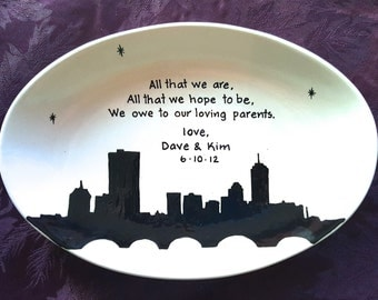 Wedding Gift for Parents Plate  - Thank you Mom and Dad - Thank you parents - Parents gift - Gift for mom and dad - City Skyline