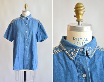 Vintage 1980s BEDAZZLED denim shirt