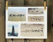 Beach Theme Cards Enjoy the Journey- set of 3 collage style sentiment card with beach stone words, upbeat beach card, journey, positive card