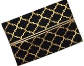 Travel Tissue Holder, Elegant Black and Metallic Gold, Designer Tissue Holder, Travel Tissue Cozy, Pocket Tissue Holder