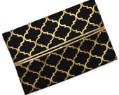 Travel Tissue Holder, Elegant Black and Metallic Gold, Kleenex Holder, Travel Tissue Cozy, Pocket Tissue Holder