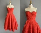 r e s e r v e d...50s vintage red strapless lace dress / vintage 1950s dress