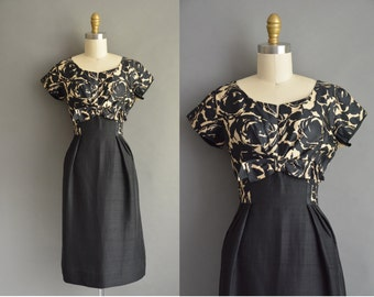 50s silk rose print vintage wiggle dress / vintage 1950s dress