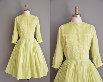 vintage 1950s dress / chartreuse cotton dress / 50s shirt dress