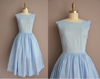 50s blue swiss dot cotton print vintage dress / vintage 1950s dress