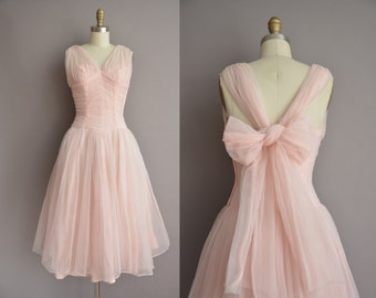 r e s e r v e d...50s pink nylon chiffon big bow vintage cupcake dress / vintage 1950s dress