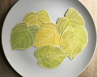 Green Cottonwood Leaves Decorations - Place cards, escort cards, dinner parties, weddings, events