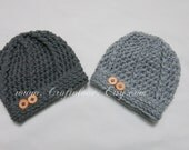 Crochet baby hat- Pewter Grey/Light Grey Baby Boy Hat - Set of 2 - Twin Baby Boy hat- CHOOSE YOUR SIZE - Newborn Photography props
