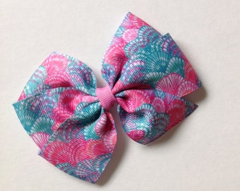 Pastel Shells Print Bow by Cheryl's Bowtique, lilly inspired, shells / Was 4.00