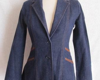 Super 70s Denim Blazer Jacket, Tapered Fit, Vegan Trim Pockets, Flared, Casual Corner Vintage