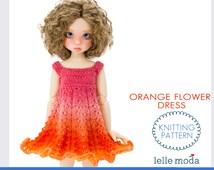 "Doll Clothes Knitting Pattern, Kaye Wiggs MSD Doll Dress Pattern, Orange Flower Dress, 17"" and  18"" MSD BJD Doll Dress Knitting Pattern"