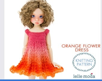"Doll Clothing Knitting Pattern, Kaye Wiggs MSD Doll Dress Pattern, Orange Flower Dress, 17"" and  18"" MSD BJD Doll Dress Knitting Pattern"