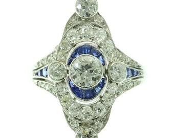 Summer Sale Art Deco platinum marquise ring 1.75ct diamonds blue calibrated sapphires circa 1920