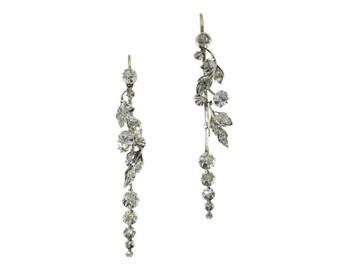 Antique Diamond Wedding Earrings - Victorian floral chandelier earrings 18K gold silver rose cut diamonds ca.1850