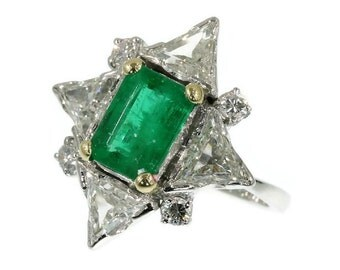 ON SALE Emerald diamond star engagement ring 18K white gold triangle cut diamonds