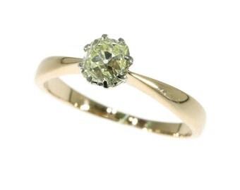 Antique solitaire diamond ring original Victorian diamond engagement ring 14k gold one stone ring 0.88ct old European cut diamond