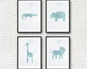 Safari Nursery Art - Watercolor Safari Animal Print - Giraffe, Hippo, Alligator, Elephant, Lion Wall Art