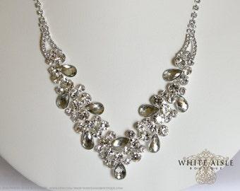 Rhinestone Necklace Set, Bridal Statement Necklace, Wedding Jewelry, Vintage Inspired Necklace, Bridesmaids Jewelry
