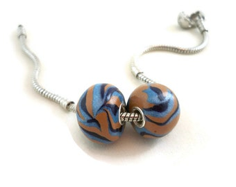 Beads grommeted european style polymer clay blue and tan