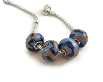 Large hole european style beads blue and tan with grommets set of four handmade