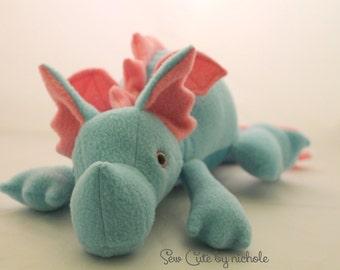 Aqua and Pink Plush Baby Dragon