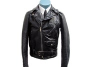 Skinny Motorcycle Jacket Vintage Excelled Men's  Black Leather Punk Biker Jkt  Mns  U.S. Size 34 Fits Womens sz Med  Made In USA