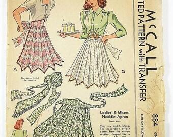 ON SALE Vintage 40s Apron Pattern - McCall 884 - Misses' Necktie Apron -  One Size Pattern