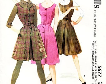 Vintage 1960s Dress Pattern - McCall's 5677 -  Misses' Jumper Dress or Jumper Culottes in Two Lenghts and Blouse - SZ 12/Bust 32