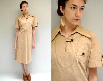 70s Cotton Day Dress // Uniform Dress //  SCOUT LEADER