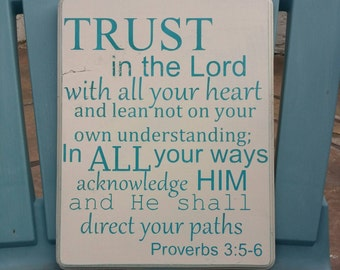 Wooden sign, Proverbs 3,  antique cream and aqua, 10 inch by 8 inch, bible verse, inspirational, home decor