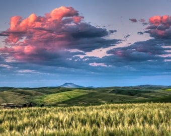 Palouse Storm at Sunset.  Rural life wall art from still photography.  Fine art print for home decor or wall art.