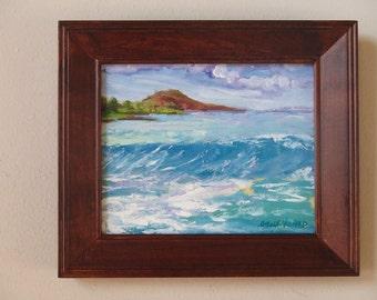 Maui Landscape Painting Pu'u Ola'i from Makena Landing plein air painting original oil painting ocean painting Maui Art