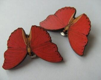 Red butterfly, CLIP ON, earrings, wood, red, butterfly, by NewellsJewels on etsy