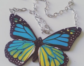 Huge, JUMBO, large,butterfly, wooden, wood, feature necklace,teal, blue, yellow, black,necklace,short necklace, by NewellsJewels on etsy