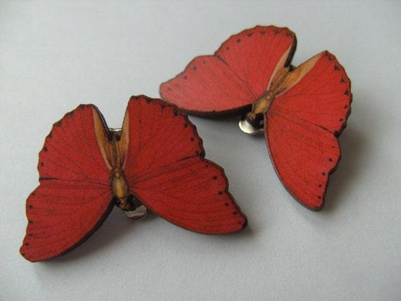 butterfly clip on earrings wood butterfly by