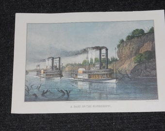 "Vintage Currier & Ives Calendar Print-""A Race on the Mississippi""-1968"