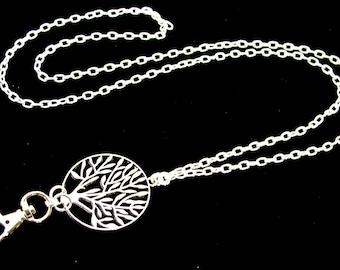 Lanyard Necklace, ID Badge Holder,  Breakaway Lanyard, Silver Lanyard, Copper Lanyard, Brass Lanyard, Great Teacher Gift, Tree of Life