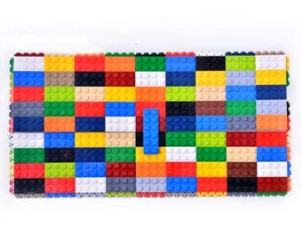 Oversize bulk multicolor clutch made entirely of LEGO bricks FREE SHIPPING gift trending purse