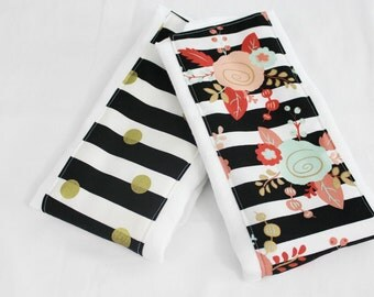 Coral Mint and Gold Flowers and Dots Baby Burp Cloths - Set of 2