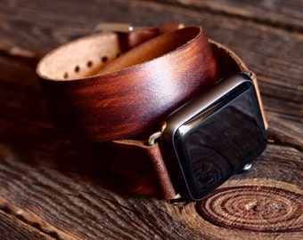 Slim Minimalist Double Tour Band 38mm 42mm  - Wrap Band  Apple Watch Band Strap -  Handmade leather strap/band for Apple Watch 38mm