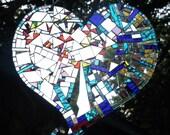 Heart, Heart mosaic, Sparks Fly Heart, Love, Heart Break, Happy Heart Sun Catcher Mirror Mosaic Art Heart:  - shipping included