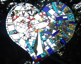 Heart, Heart mosaic, Sparks Fly Heart, Love, Heart Break, Happy Heart Sun Catcher Mirror Mosaic Art Heart:  - shipping included