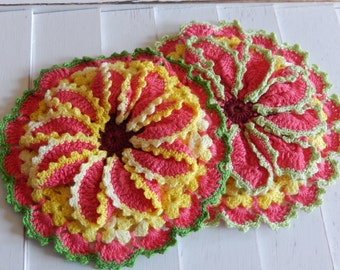 Vintage Crochet Potholder Flowers Kitchen Home Decor Set of 2