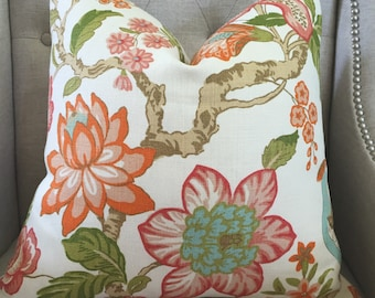 "Timothy Corrigan for Schumacher - Huntington Gardens in coral - 20""X20"" - Pattern on the front"
