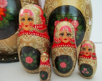 """extra large 10"""" set of 8 nesting MATRYOSHKA DOLLS - Made in RUSSIA, red, gold, pink, wood, floral"""